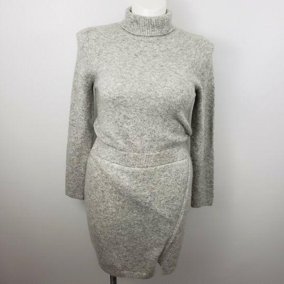 ASOS Dresses & Skirts - ASOS 10 faux wrap gray knit sweater sheath dress